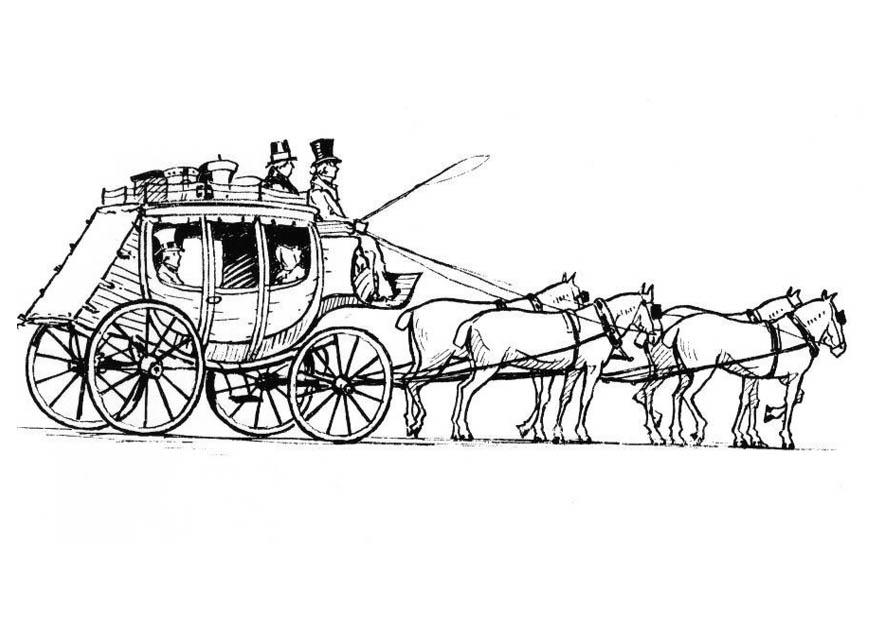 875x625 Coloring Page Horses With Carriage