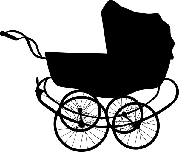 600x510 Vintage Baby Carriage Illustration With Silhouette Style Free