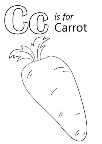 340x480 Letter C Is For Carrot Coloring Page Free Printable Coloring Pages