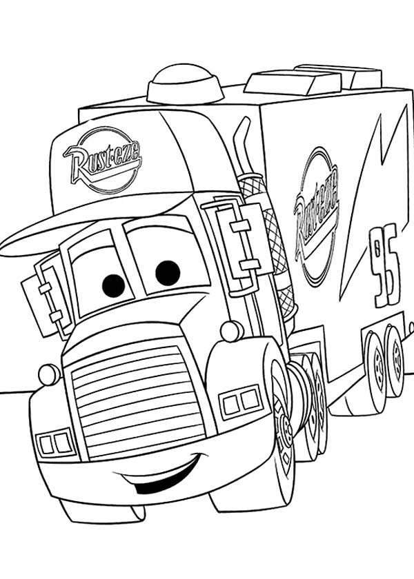 600x840 Mack From Disney Cars 2 Coloring Page