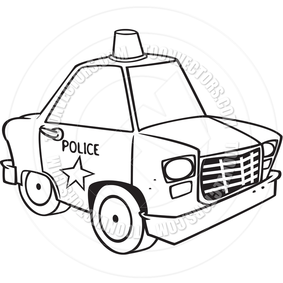 940x940 Cartoon Police Car (Black And White Line Art) By Ron Leishman