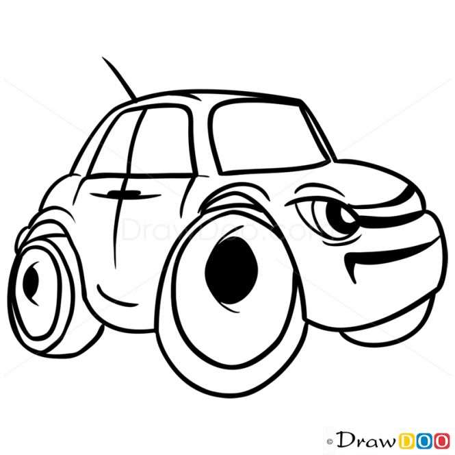 665x664 How To Draw Grumpy Car, Cartoon Cars