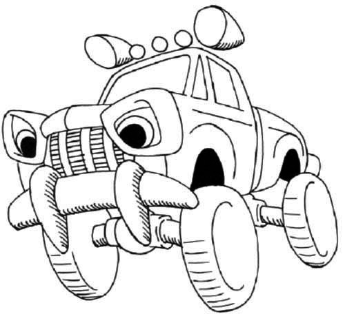 500x459 Off Road Cartoon Car Coloring Page