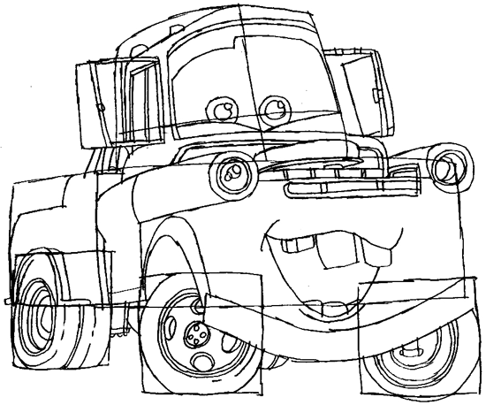 550x458 How To Draw Tow Mater From Disney Cars Movie