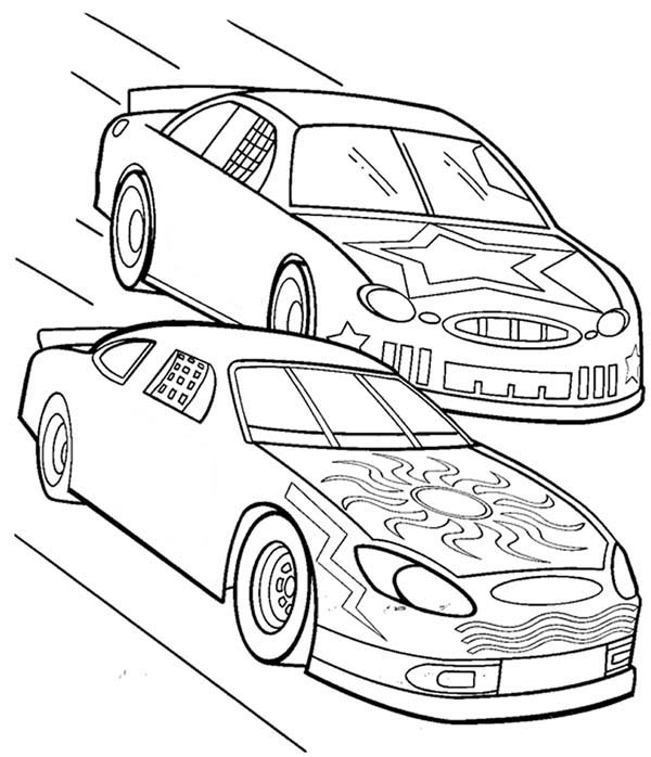 600x698 Plush Design Race Coloring Pages Race Car Two Cars In Car Coloring