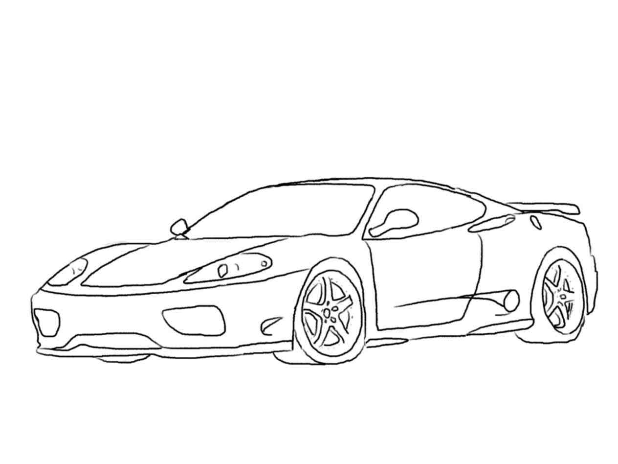 1264x948 Cars Easy How To Draw A Drawings Ferrari Drawing Outline