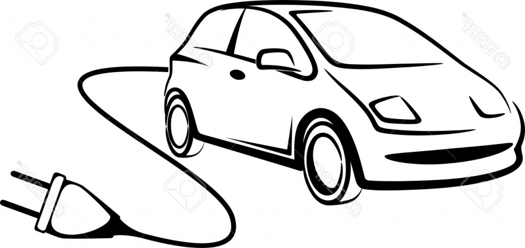 1024x485 Simple Drawing Of A Car Simple Illustration With Electric Car