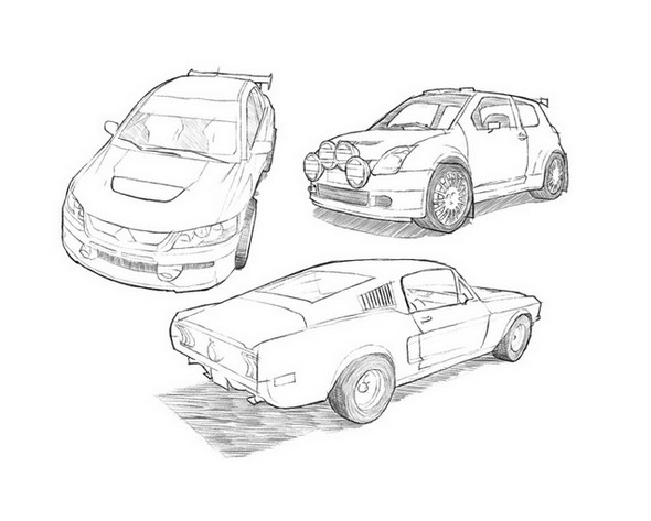 Cars Pencil Drawing