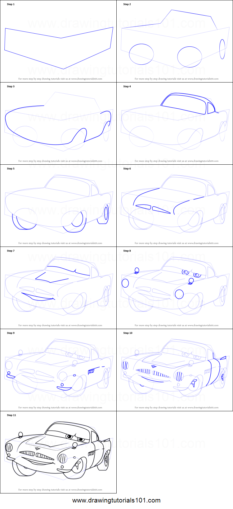 751x1635 How To Draw Finn Mcmissile From Cars 2 Printable Step By Step