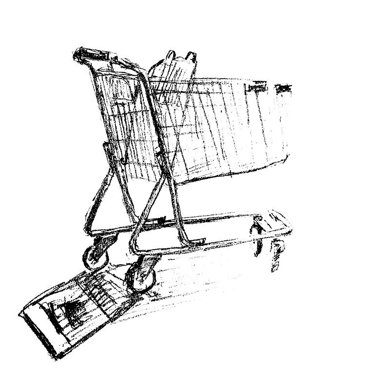 800x800 Shopping Cart Line Drawing. Stickers By Artosaurus Redbubble