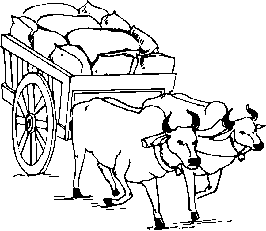 868x755 Bull Cart Clipart Black And White