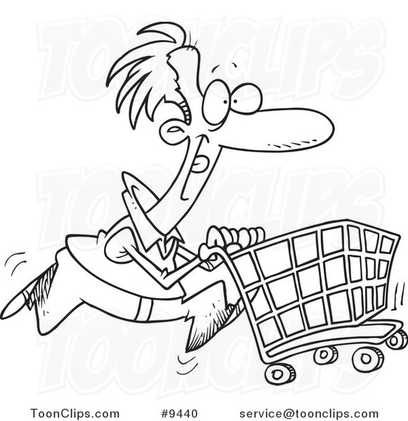 581x600 Cartoon Black And White Line Drawing Of A Guy Pushing A Shopping