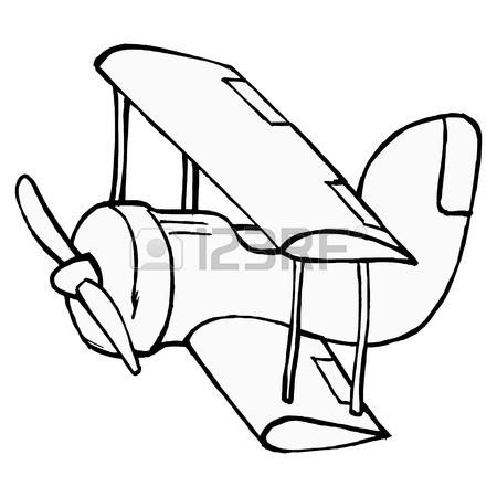 450x450 Hand Drawn, Cartoon, Illustration Of Toy Airplane Royalty Free