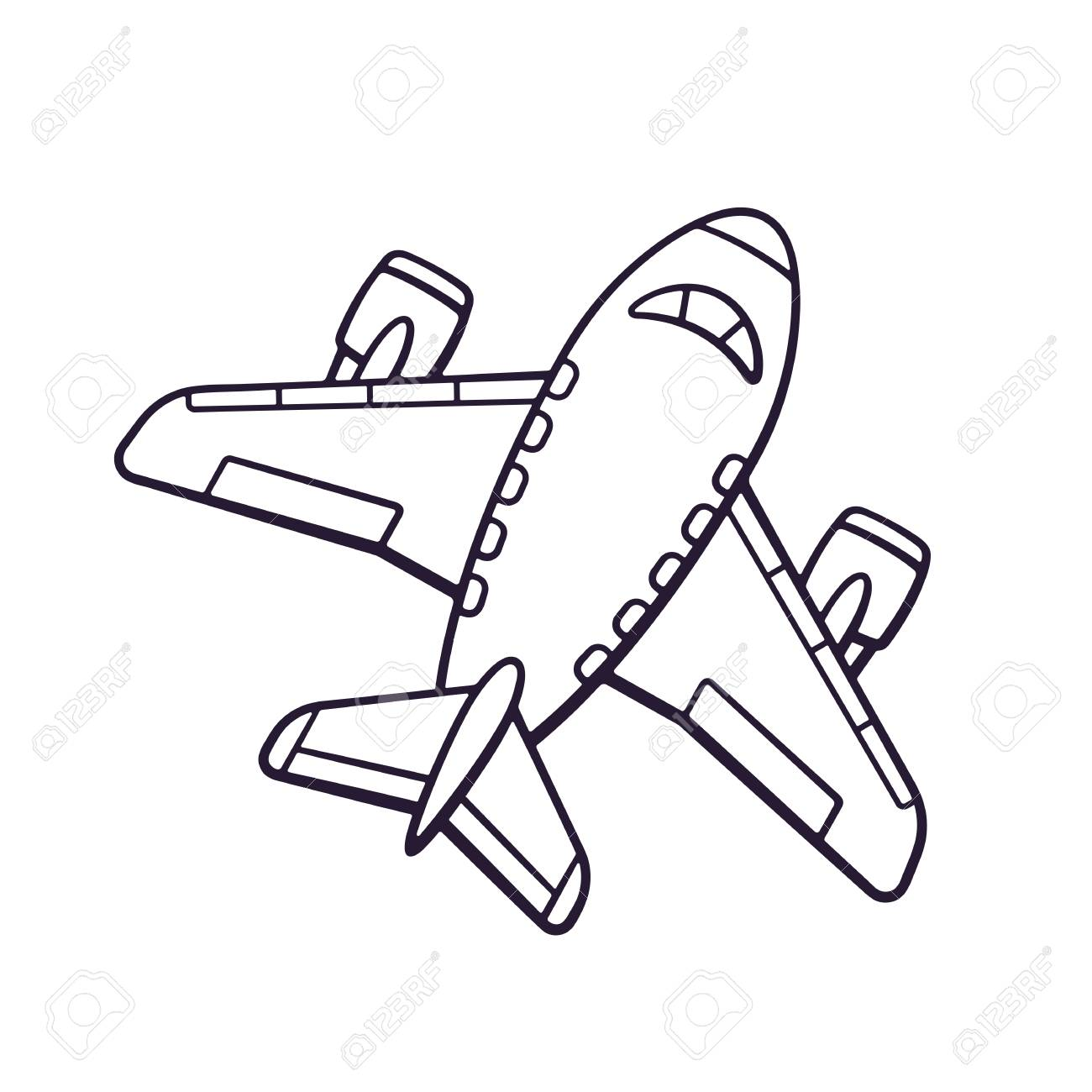 1300x1300 Vector Illustration. Hand Drawn Doodle Of Toy Plane. Travel By
