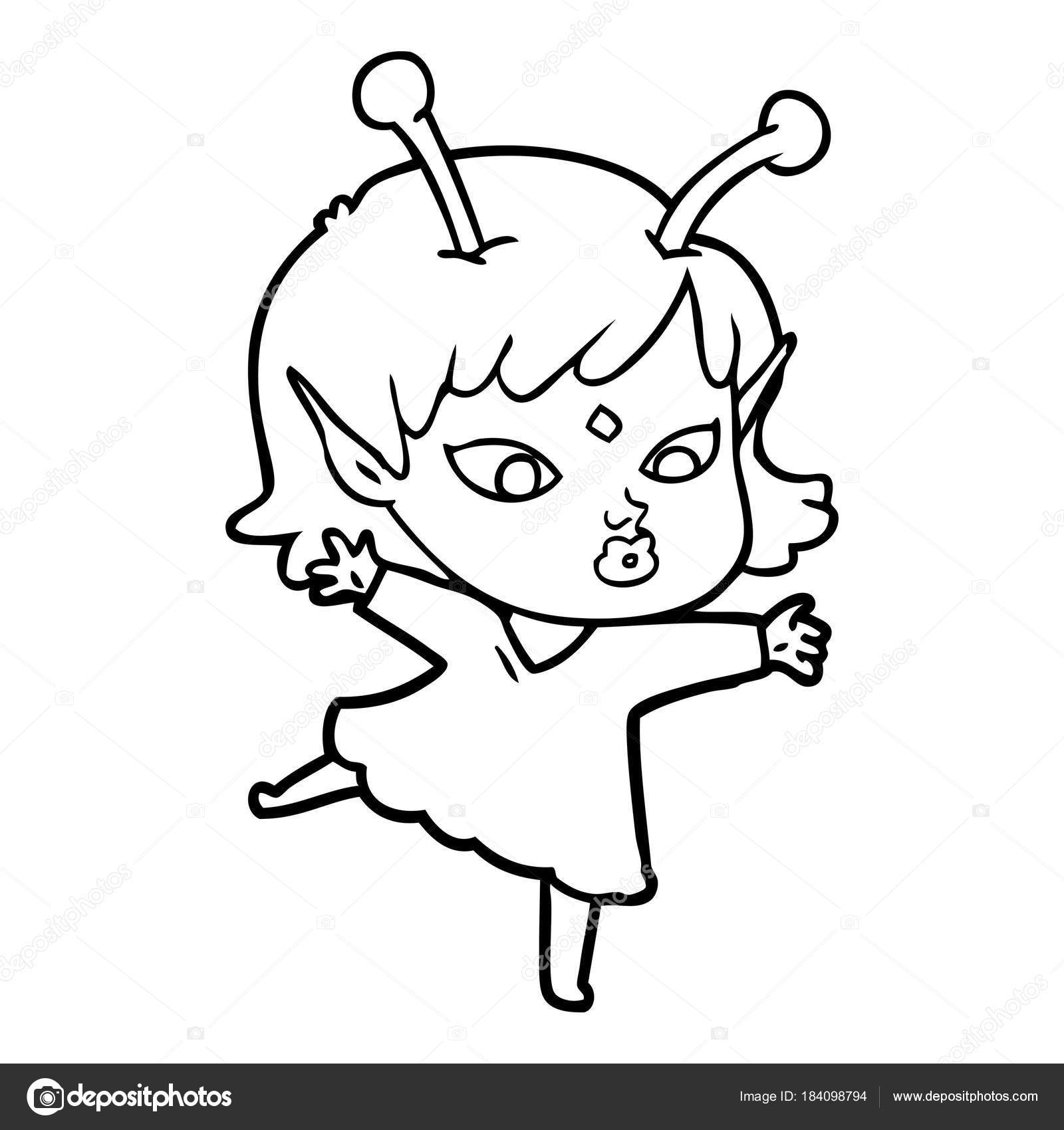 1600x1700 Pretty Cartoon Alien Girl Stock Vector Lineartestpilot