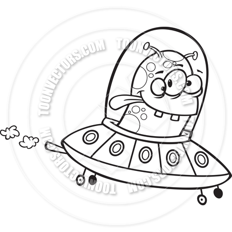 460x460 Cartoon Alien Flying Saucer (Black Amp White Line Art) By Ron
