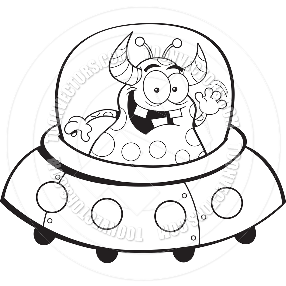 940x940 Cartoon Alien Spacecraft (Black And White Line Art) By Kenbenner