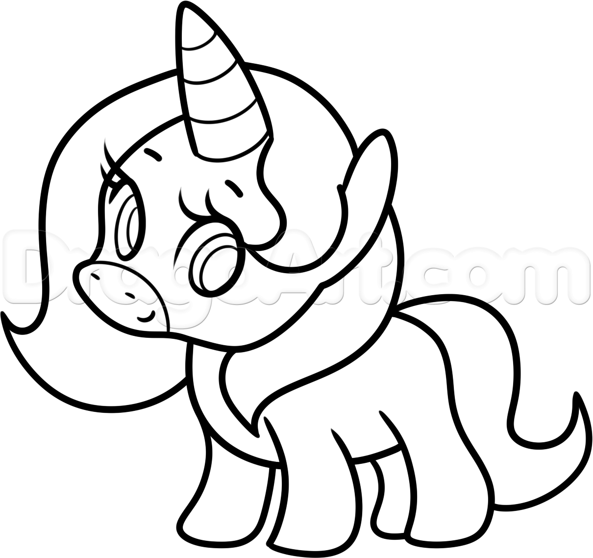 1210x1138 A Drawing Of A Unicorn How Draw Cute Cartoon Animals How