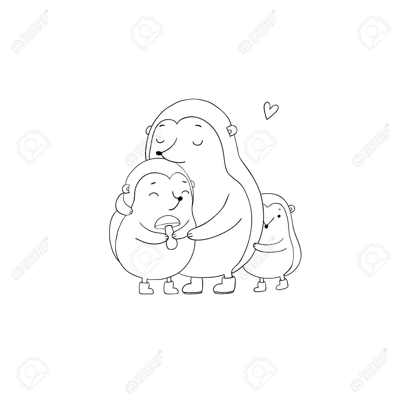 1300x1300 Family Cute Hedgehogs. Mom And Kids. Cartoon Animals. Hand Drawing