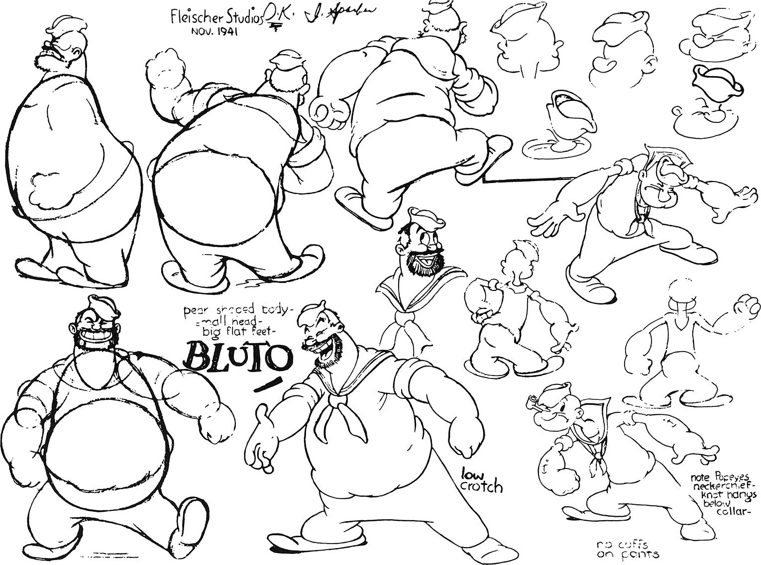 1529x1136 Bluto Model Sheets From Fleisher Studios Cartoons