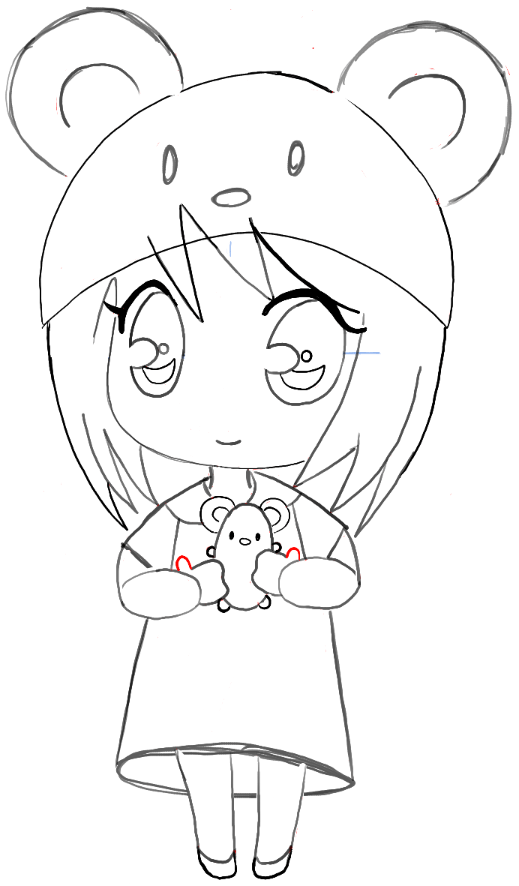 519x886 How To Draw A Chibi Girl With Cute Mouse Hat Easy Step By Step