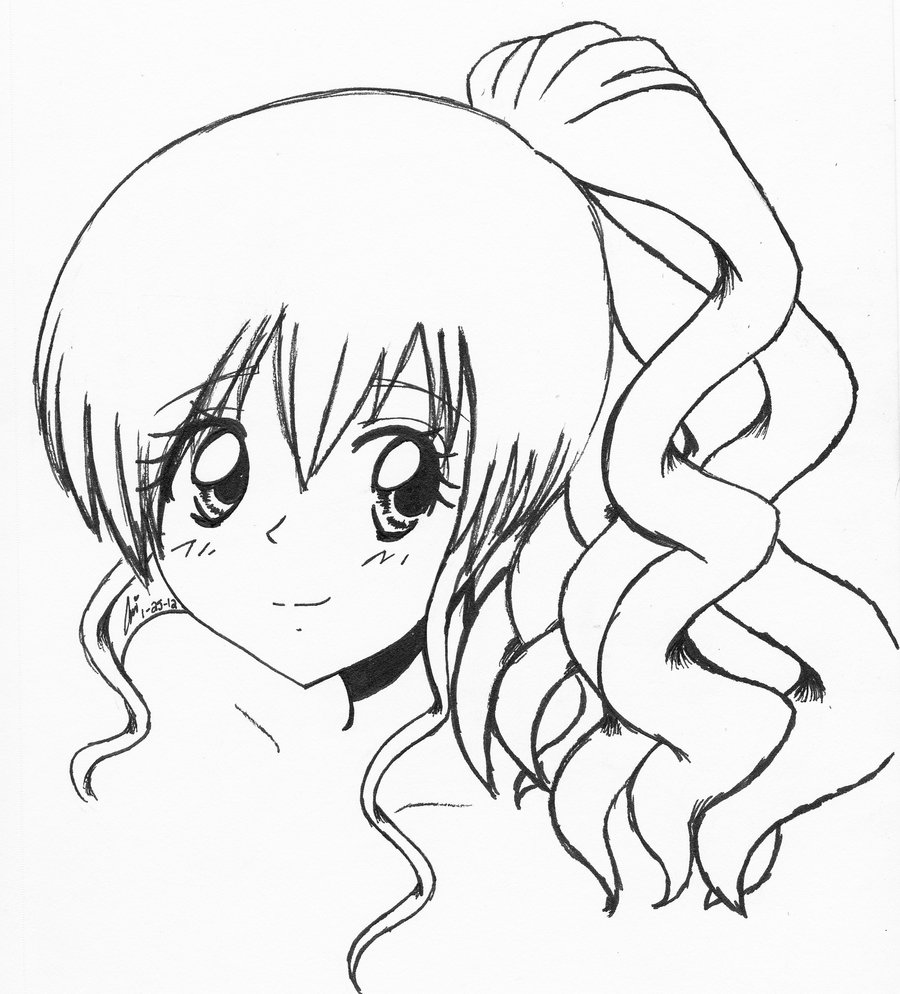 900x994 Anime Girl With Curly Hair By