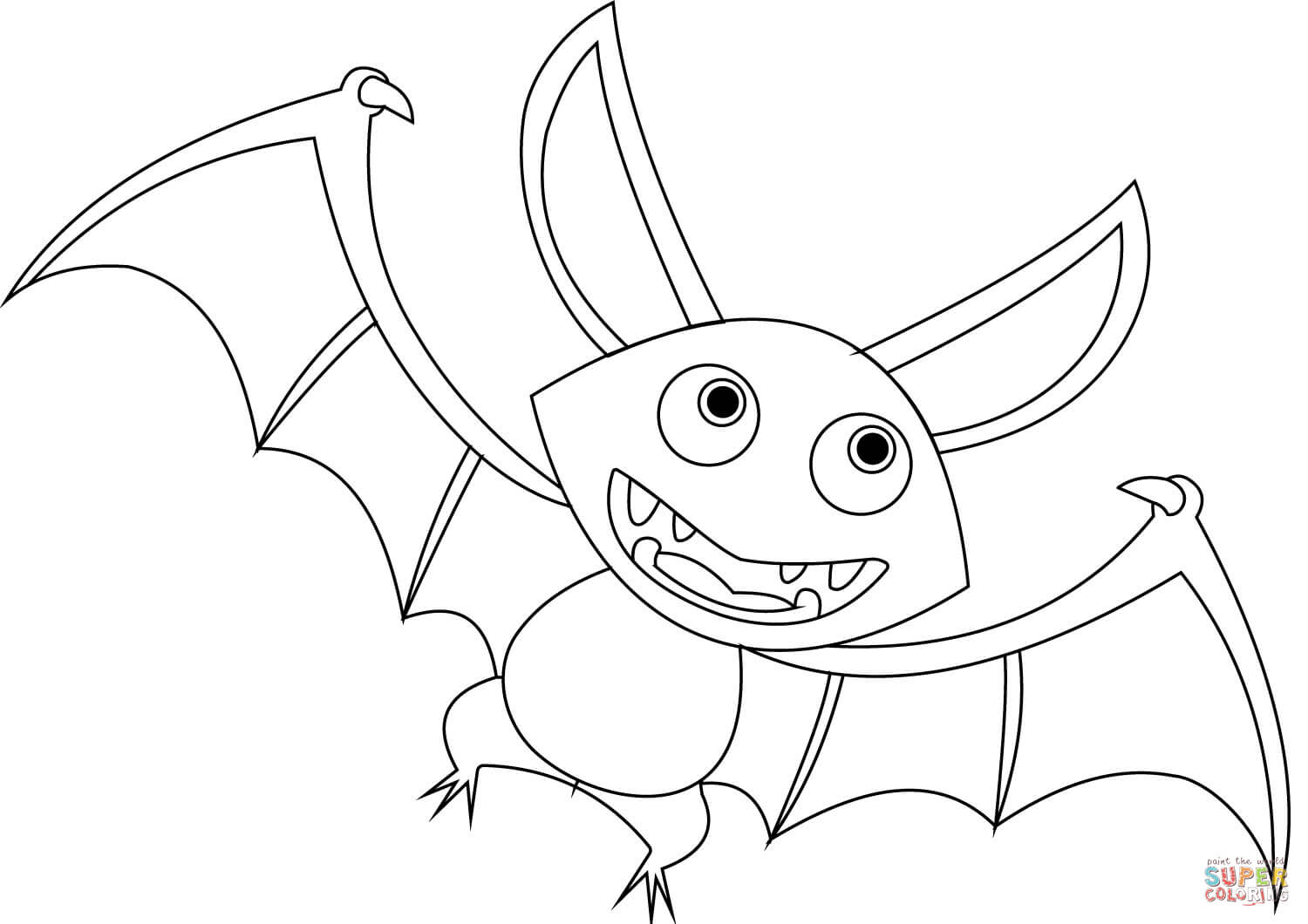 1500x1060 Cartoon Bat Coloring Page Free Printable Coloring Pages