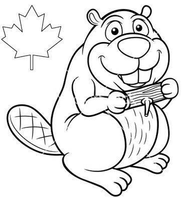 375x395 Canada Beaver Coloring Page Online