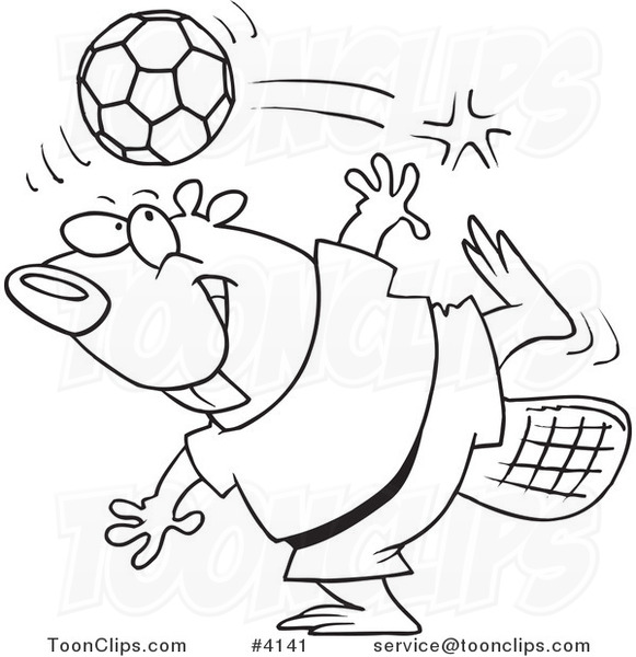 581x600 Cartoon Black And White Line Drawing Of A Soccer Beaver