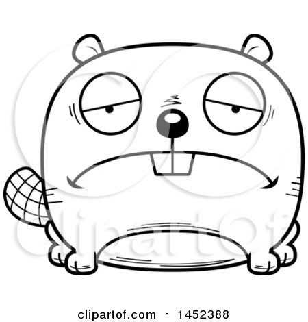 450x470 Clipart Graphic Of A Cartoon Black And White Lineart Sad Beaver