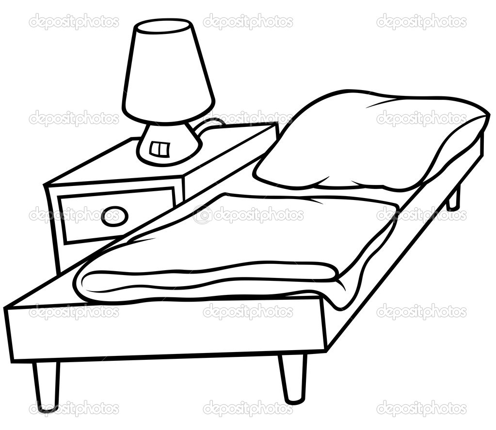 1023x888 Cartoon Beds Black And Whitebed And Bedside Stock Vector Roman