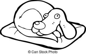 300x191 Cartoon Dog On Bed Clipart Vector