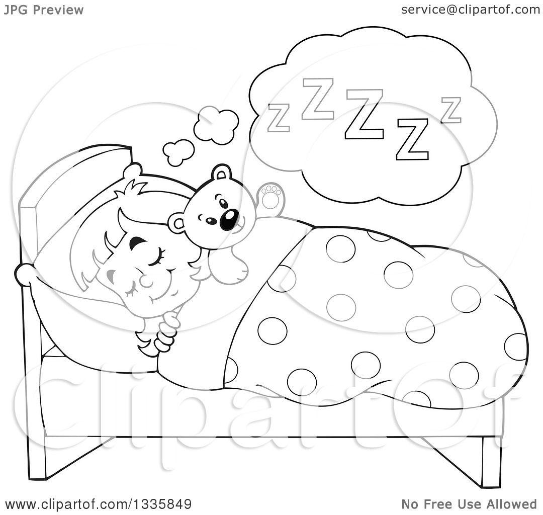1080x1024 Clipart Of A Cartoon Black White Happy Girl Sleeping