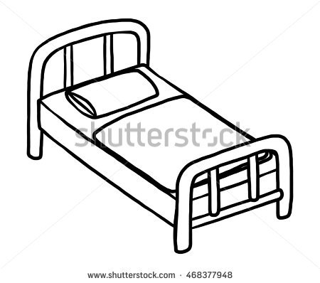 450x398 Drawing Of Bed Single Bed Cartoon Vector Illustration Black Stock