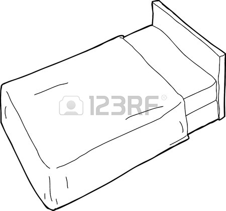 450x419 Single Hand Drawn Cartoon Bed With Pillow Outline Royalty Free