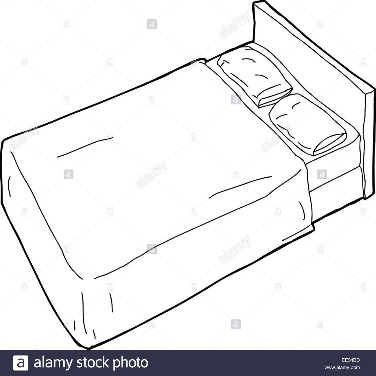 1300x1300 Single Hand Drawn Cartoon Bed With Pillow Outline Stock Photo