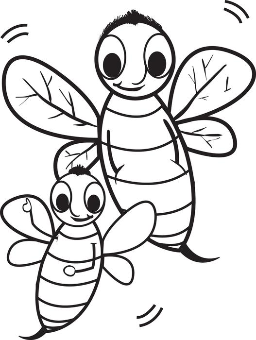 527x700 Free, Printable Cartoon Bee Coloring Page For Kids
