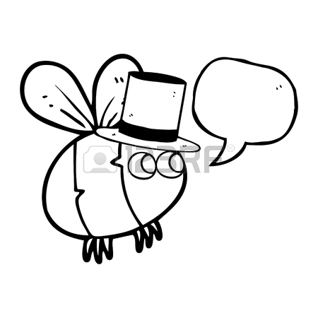 450x450 Freehand Drawn Speech Bubble Cartoon Bee Top Hat Royalty Free