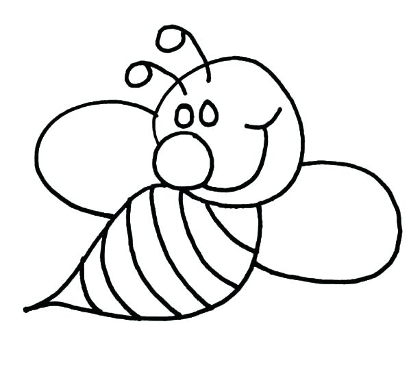 600x549 Bee Coloring Page Cartoon Bee Flower A Page To Print Out