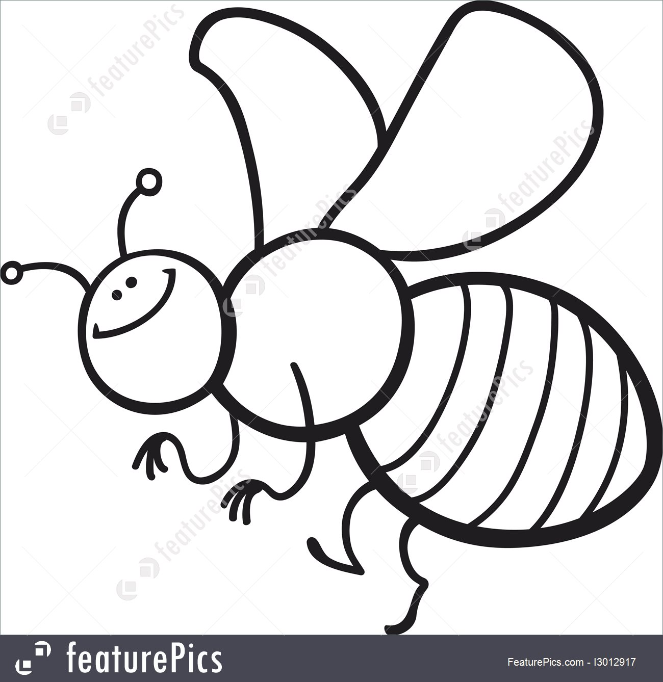 1300x1338 Illustration Of Cartoon Bee Coloring Page