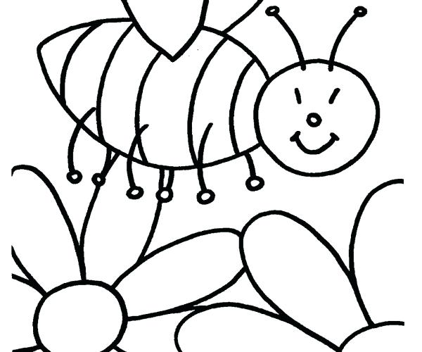 600x500 Bee Pictures To Color Cartoon Bee And Flower A Page To Print Out