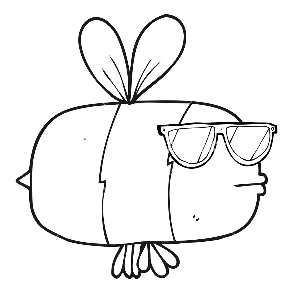 1000x1000 Freehand Drawn Black And White Cartoon Bee Wearing Sunglasses