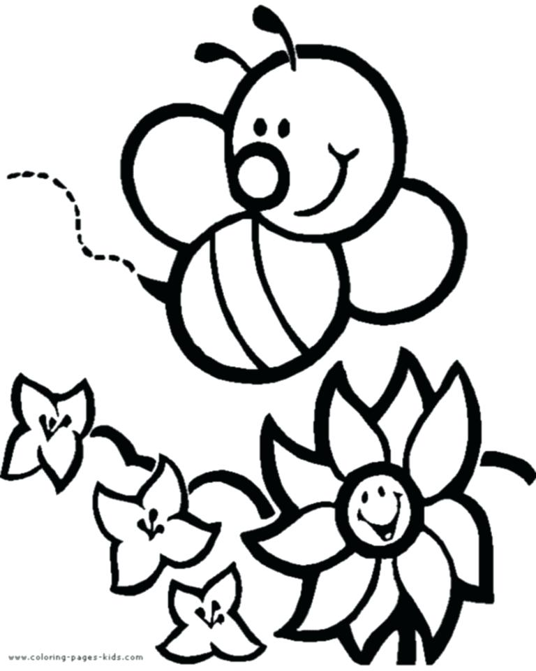 768x960 Coloring Page Bee Cartoon Bee Flower A Page To Print Out