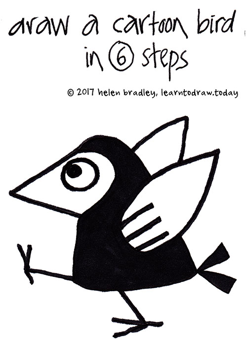 500x699 Draw a cartoon bird in 6 steps Learn To Draw