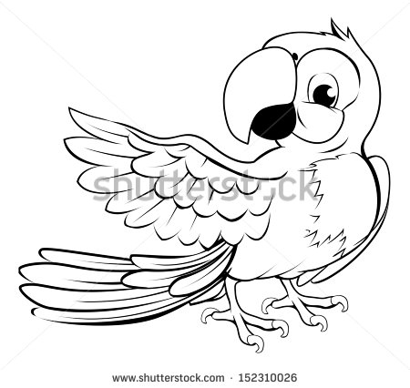 450x426 Cartoon Parrot Character In Black Outline Pointing With Its Wing