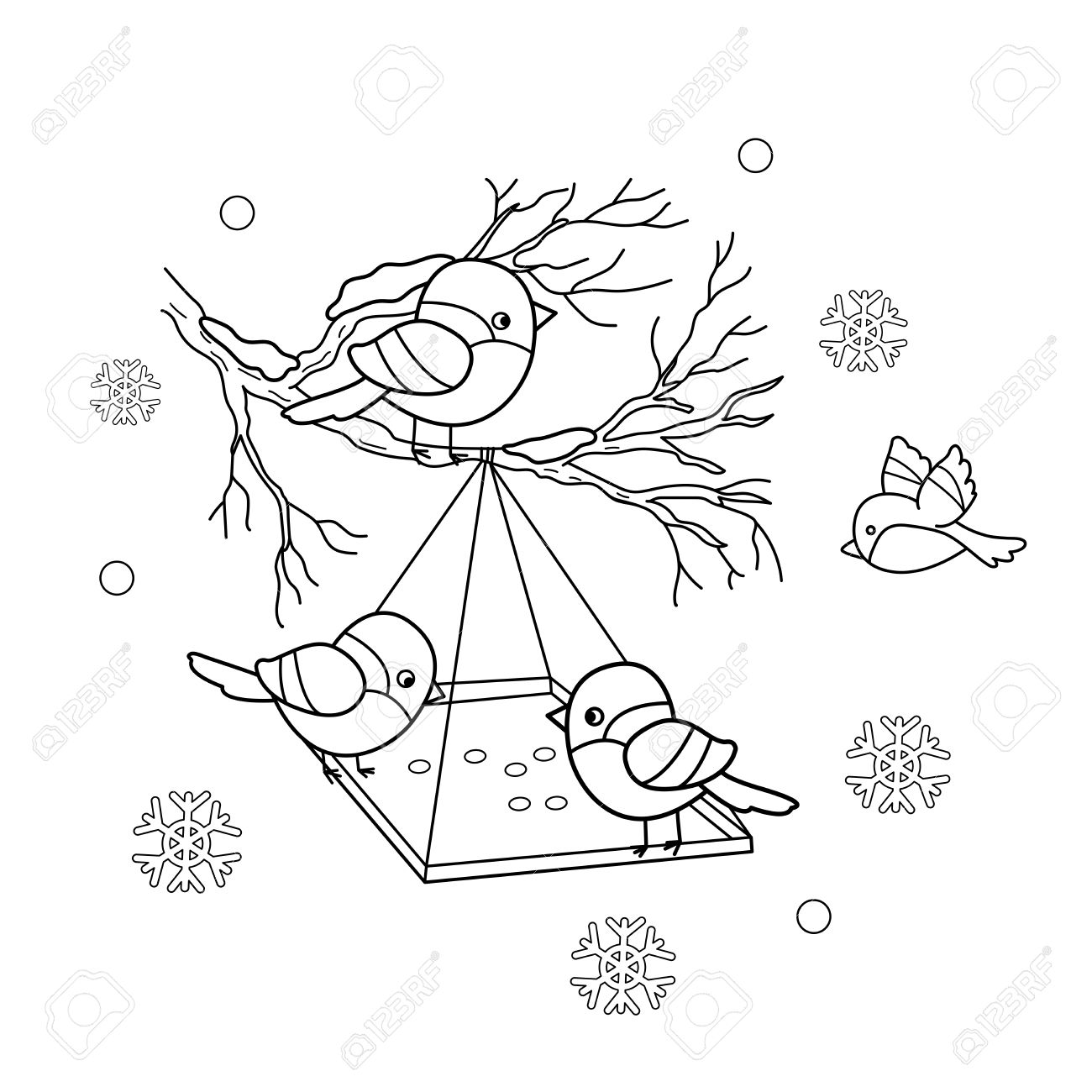 1300x1300 Coloring Page Outline Of Cartoon Birds In The Winter. Bird Feeder