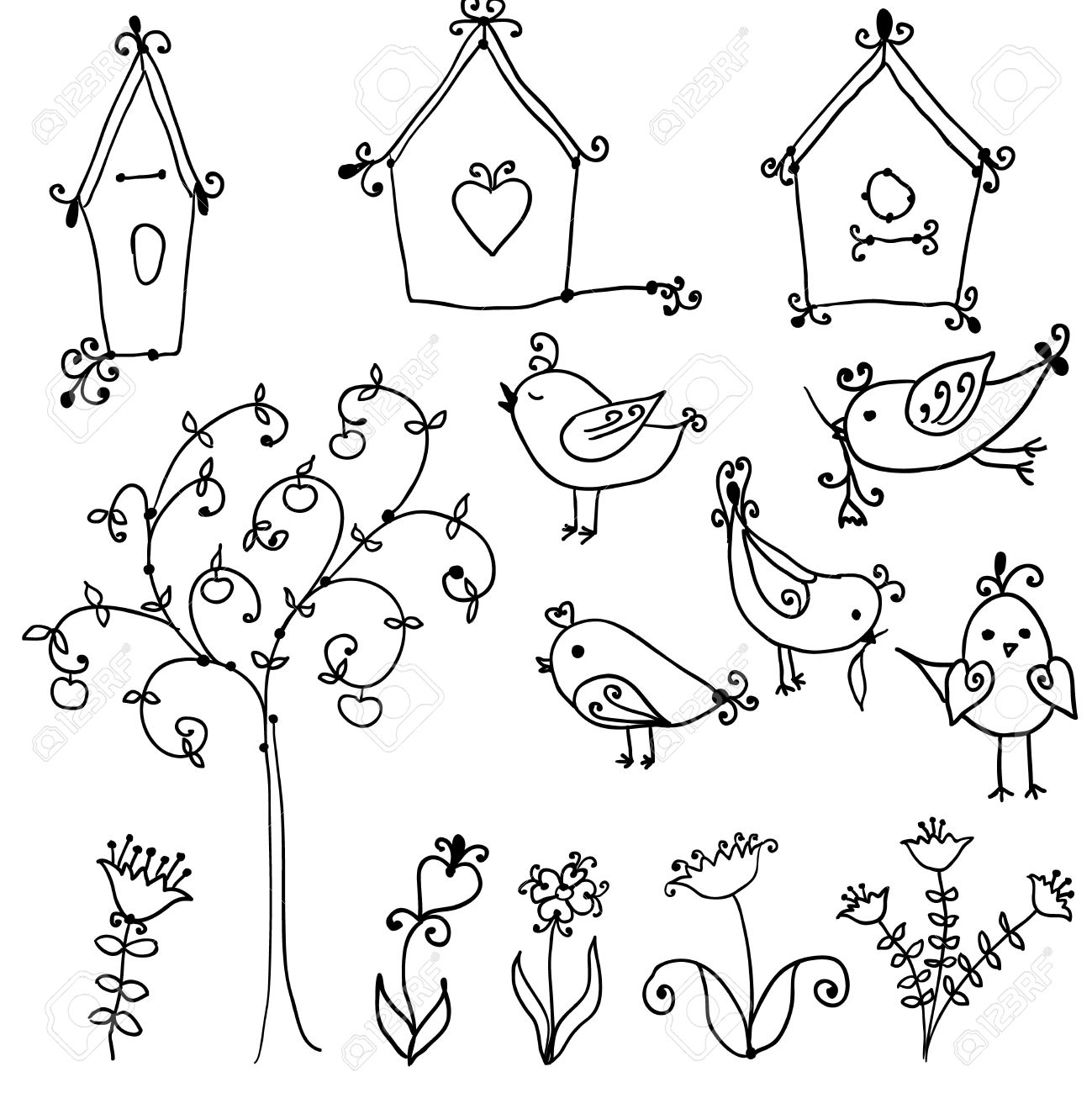1299x1300 Set Of Cute Cartoon Birds, Tree And And Bird Nesting Boxes Royalty