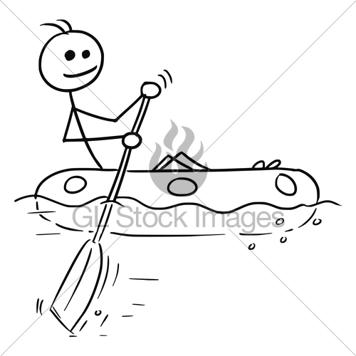500x500 Cartoon Vector Stick Man Sailing A Rubber Boat Gl Stock Images