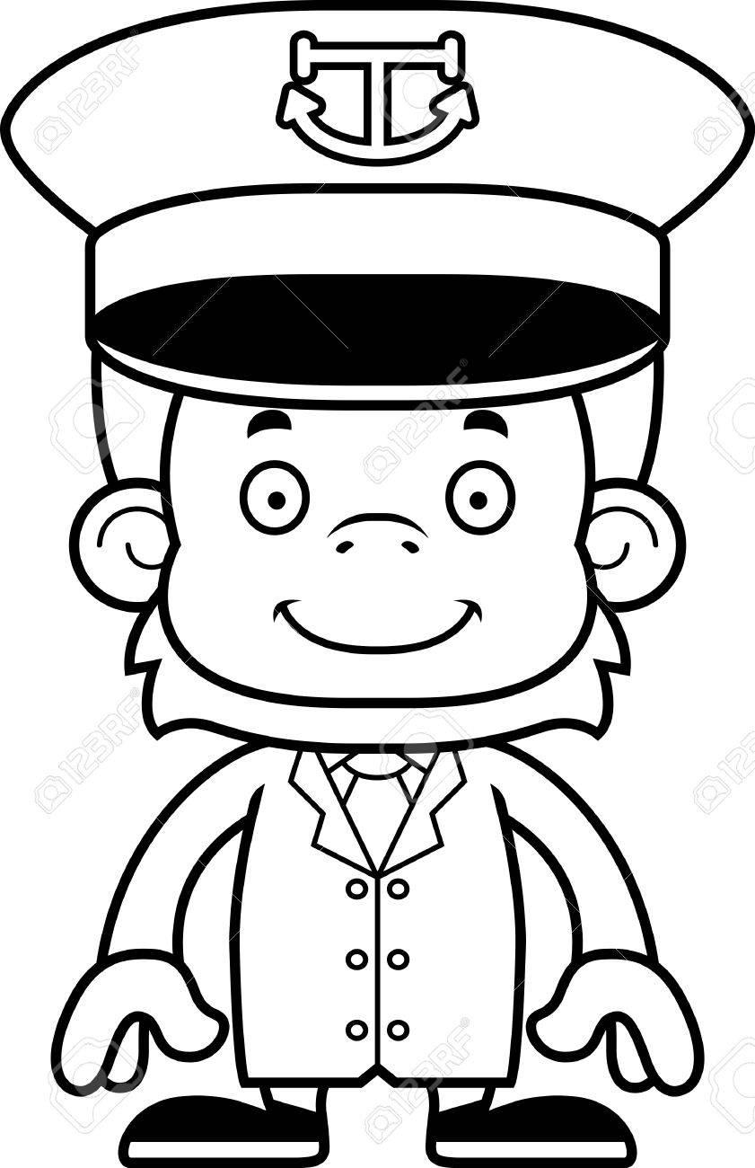 841x1300 A Cartoon Boat Captain Orangutan Smiling. Royalty Free Cliparts