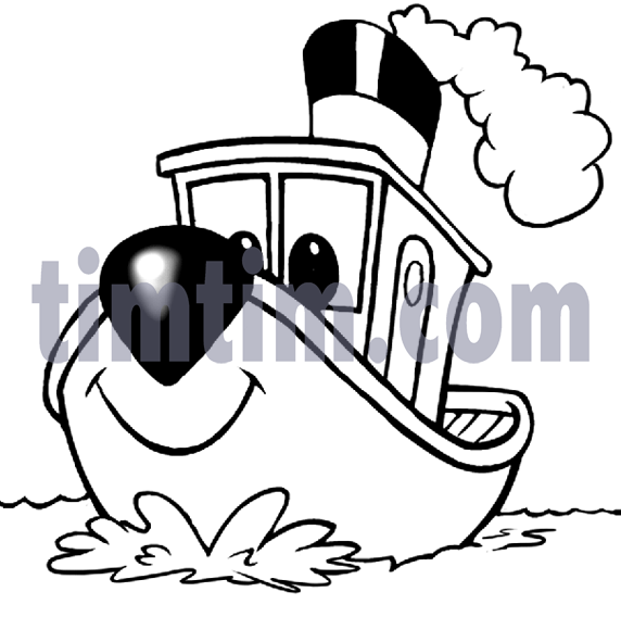 572x568 Free Drawing Of A Tugboat Bw From The Category Boat Amp Sail